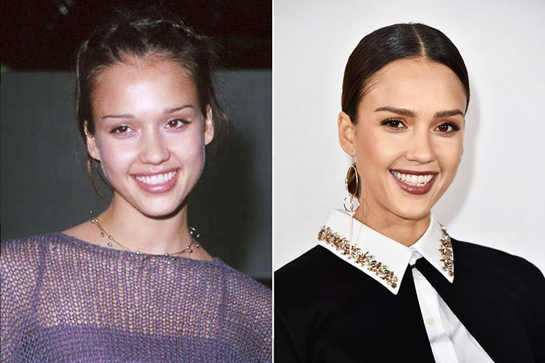 Jessica Alba Before and After Microblading Eyebrows