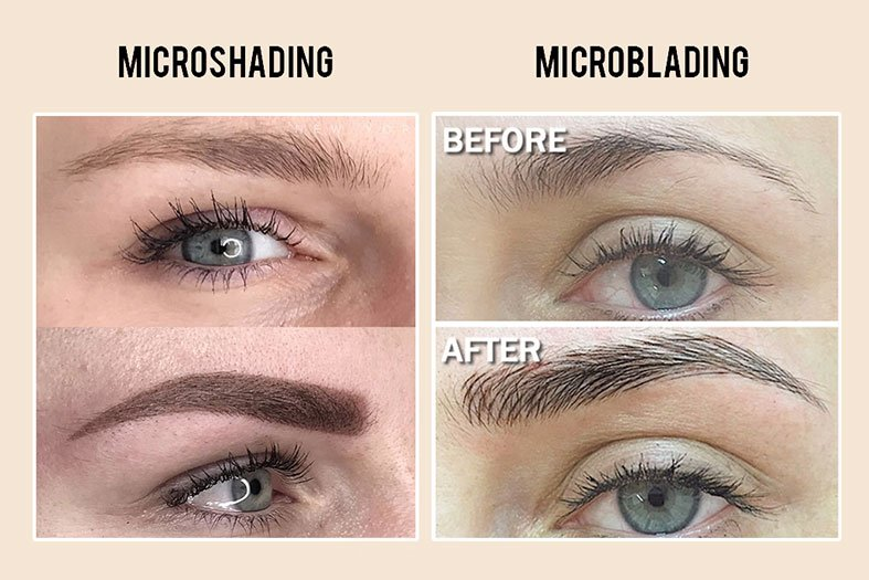 microblading vs microshading - before and after