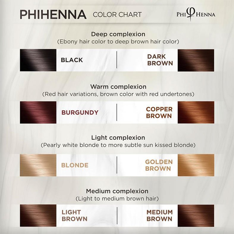 phihenna shades and henna color chart